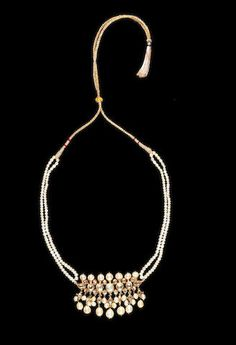 A diamond-set gold and natural pearl Necklace India