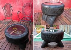 A Rope Covered Tire Planter with Tripod Legs Katie at Addicted 2 DIY created this wonderful planter from an old tire. You might have seen many kinds of tire planters but there is something so special about this beauty. It has got rope coiled around the tire along with wooden tripod legs. Isn't this so