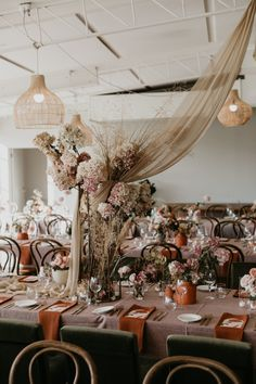 Drapes, Rattan Lampshades And Dried Hydrangea For A Wedding Styled By Nomad Styling Wedding Trends, Wedding Designs, Wedding Linens, Boho Wedding, Copper Wedding, Boho Bride, Autumn Wedding, Wedding Bells, Dream Wedding