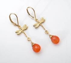 LUCK and FREEDOM earrings (Carnelian briolettes, Vermeil Dragonflies, 14K Gold Filled fancy wire wrap, lever backs and findings)