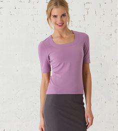 Smart Square 1/2 Sleeve cotton top, £32.00. Colours white/soft white/iced aqua/pink ice/salmon/flamingo pink/soft violet/new lime/buttercup/light sand/camel/berry red/coffee/dark khaki/seaspray/chinese blue/breton blue/marine blue/navy/black. | Kettlewell