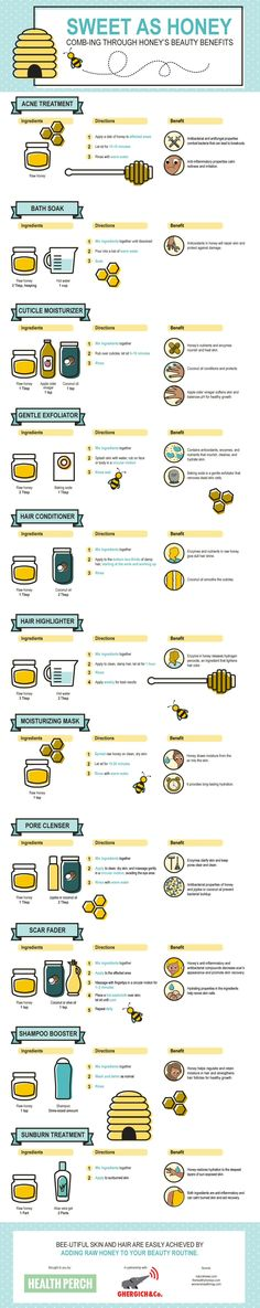 11 DIY Ways To Use Honey For Gorgeous Skin, Hair & Nails (Infographic) - mindbodygreen.com Beauty Tips With Honey, Natural Beauty Tips, Beauty Care, Diy Beauty, Beauty Hacks, Beauty Skin, Beauty Ideas, Beauty Makeup, Homemade Skin Care