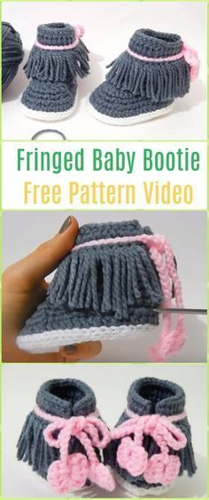 Crochet Fringed Baby Booties Free Pattern Video -Crochet Ankle High Baby Booties Free Patterns #CrochetGifts
