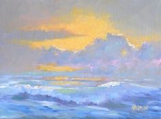 Sunrise on the Beach, 8x6 Original Oil on Canvas Seascape -- Carmen Beecher