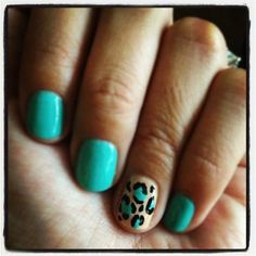 Turquoise leopard nail art
