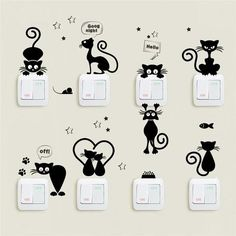 Cheap Wall Stickers, Buy Directly from China Suppliers:Lovely Cat Light Switch Phone Wall Stickers For Kids Rooms Diy Home Decoration Cartoon Animals Wall Decals Pvc Mural Art Mural Art, Wall Art, Cat Light, Wall Painting Decor, Animal Wall Decals, Cat Decals, Pvc Wall, Wall Stickers Home Decor, Wall Decor
