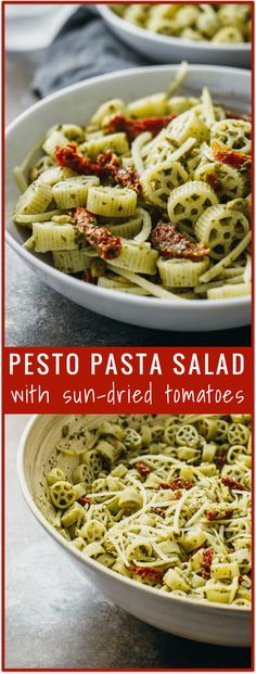 Pesto pasta salad with sun-dried tomatoes - Here's a 15-minute pesto pasta salad to bring to your next event. It's easy to throw together with only 5 ingredients in this recipe: pasta, pesto, sun-dried tomatoes, parmesan cheese, and sunflower seeds. This is a great cold dish to to bring to summer parties. - savorytooth.com