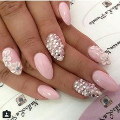 Light Pink Nails - Rhinestones - Pearls - Flowers | Lovely Nails ...