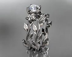 Único 14k diamantes em ouro branco anel de casamento floral, noivado definir ADLR238