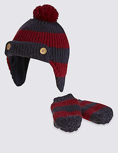 Kids' Striped Trapper Hat & Mittens