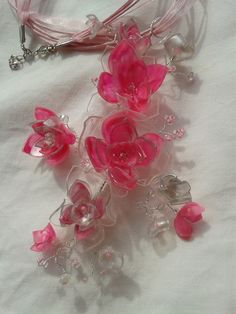 Twisted Wire Pendant with Flowers from PET Bottles