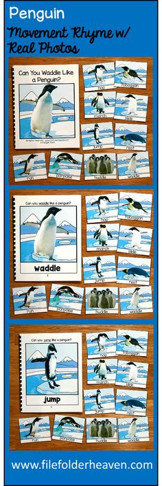 """This Penguin Themed Book and Penguin Movement Cards get your students moving and help them improve gross motor skills, motor planning, following directions and imitation skills. There are so many ways to use this book and associated cards. Use it during circle time, as a warm up activity, as a small group language activity, before or after transitions or a time filler activity that will keep your students' attention and let them get their """"wiggles"""" out."""