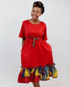 """Designed By WeduK on Instagram: """"We have the medi version of the Mosadi dress readily available in different sizes Available colors: Maroon, yellow and Navy Blue Available…"""""""
