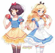 Disney Princess Drawings, Anime Princess, Disney Drawings, Disney Anime Style, Disney Fan Art, Cute Disney, Disney Girls, Anime Snow, Alice Anime