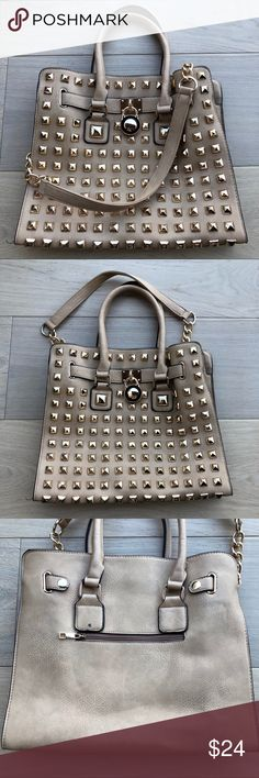 Gold studded purse Gold studded purse, has a few flaws pictured above. One little cut and a little black mark. Bags