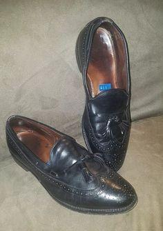 Men's Shoes Johnston Murphy Crown Aristocraft Black Tassel Loafer Mens Shoe 7.5 M Vintage 40 Be Friendly In Use