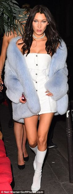 Thigh's the limit! The Calabasas socialite was joined by her younger sister Bella, who pai...