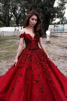 ba7062e7bab Red A Line Floor Length Off Shoulder Appliques Floral Long Prom Dress