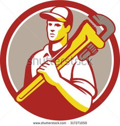 Illustration of a plumber worker wearing hat holding monkey wrench on shoulder looking to the side viewed from front set inside circle on isolated background done in retro style.  - stock vector #plumber #retro #illustration