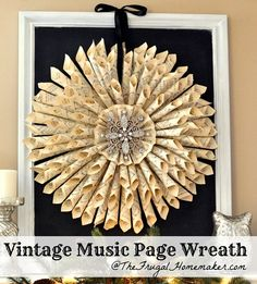 Homemade Vintage Music Book Page Wreath - The Frugal Homemaker