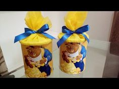 DIY LATAS DECORADAS PARA LEMBRANCINHAS DE ANIVERSÁRIO - YouTube Beauty And The Beast Diy, Beauty And Beast Birthday, Diy Beauty, Diys, Birthday Souvenir, Packing Boxes, Milk Cans, 2nd Birthday Parties, Party Favors