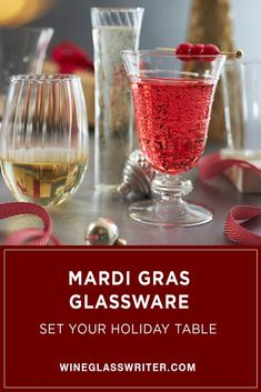 Made from hand-worked borosilicate glass, Mardi Gras textured glasses will add sparkle and personality to any party. Each glass features a unique pattern, including stripes, dots, and swirls. They are available as flutes, tumblers, goblets and stemless wine glasses. #wineglasses #partyglasses #holidayglasses #wine #holidaytable #holidayentertaining Stemless Wine Glasses, Champagne Glasses, Gifts For Wine Lovers, Holiday Tables, Mardi Gras, Swirls, Holiday Gifts, Alcoholic Drinks, Entertaining
