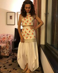 Taapsee Pannu – Papa Don't Preach by Shubhika Designer Party Wear Dresses, Kurti Designs Party Wear, Indian Designer Outfits, Indian Outfits, Sarara Dress, Dress Long, How To Wear Shirt, Western Dresses For Women, Heavy Dresses