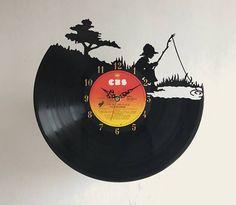 Handcarved Fisherboy Vinyl Record Clock retro wall clock