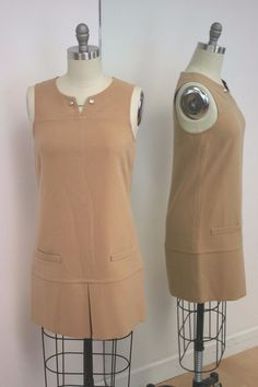 Juicy Couture Tan Structured Tunic Dress With Front Pockets Size 6 #JuicyCouture #TunicDress