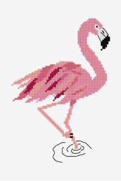 Flamingo - pattern - Free Cross Stitch Patterns, You can produce really unique styles for fabrics with cross stitch. Cross stitch models can almost amaze you. Cross stitch beginners can make the models they need without difficulty. Cross Stich Patterns Free, Beading Patterns Free, Embroidery Patterns Free, Cross Stitch Designs, Free Pattern, Bead Patterns, Embroidery Designs, Crochet Patterns, Dmc Cross Stitch