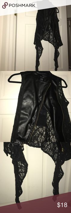 ♣️Black vest with lace♣️ Black vest in excellent condition Jackets & Coats Vests