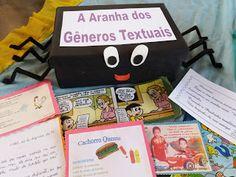 Aranha dos gêneros textuais - ENSINANDO COM CARINHO Montessori, Homeschool, Teaching, Education, Games, Books, School Displays, School Games, Sight Word Games