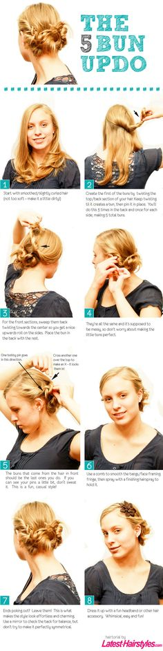 The 5 Bun Updo [Hair Tutorial] This worked really well for me!