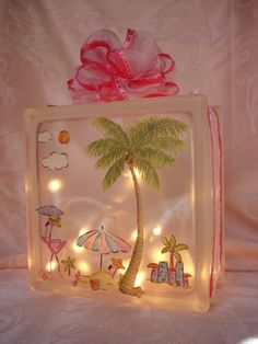 Decorated Glass Block Flamingo Beach Scene by Sandiescreations