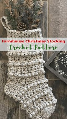 Perfect crochet Christmas stocking pattern Farmhouse style in my opinion although the designer doesn't label it as such. This crochet Christmas stocking definitely has that Farmhouse look to it. Very easy to whip up, makes a great addition to your own Chr Crochet Christmas Stocking Pattern, Crochet Stocking, Crochet Christmas Decorations, Crochet Gifts, Christmas Diy, Xmas, Crochet Christmas Stockings, Holiday Crochet Patterns, Crochet Christmas Gifts