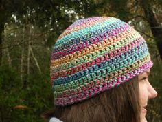 Add some color with this casual peach beanie. Wear it for any occasion with comfort. This crochet beanie was made using soft acrylic yarn to keep