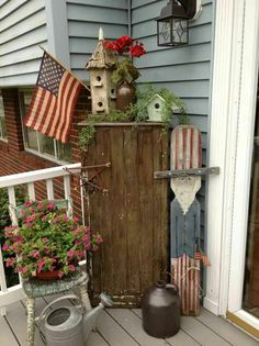 .Small porch dressed up for July 4th holiday.