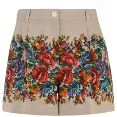DOLCE & GABBANA Linen Floral Shorts ($580) ❤ liked on Polyvore