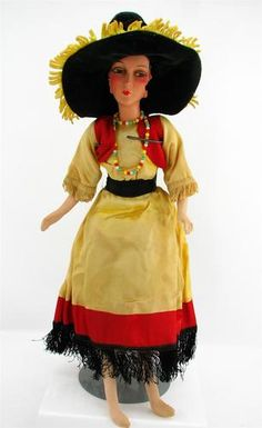 "Vintage 1920/30s Boudoir Bed Doll Spanish Dress Composition Head 21"" Long"