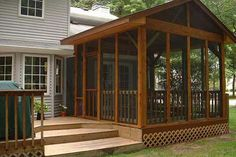 simple screen porch designs - Google Search note the railings and narrow screens  Interesting gable roof which does not appear to be connected to home
