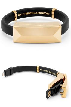 Perfect for the fashion girl on-the-go, Rebecca Minkoff's sleek bracelet hides a USB cable to sync and charge your phone at a moment's notice.  Rebecca Minkoff cable bracelet, $58, rebeccaminkoff.com.