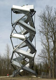 Loenhart & Mayr, Observation tower on the River Mur, Gosdorf, Styria Austria. Contemporary Architecture, Landscape Architecture, Interior Architecture, Landscape Design, Classical Architecture, University Architecture, Lift Design, Lookout Tower, Unusual Homes