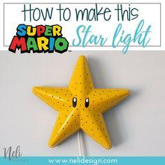 How to make a Super Mario Bros Star, Bedroom light, Super Mario bros themed bedr. - Ikea DIY - The best IKEA hacks all in one place Gamer Bedroom, Kids Bedroom, Star Bedroom, Kids Rooms, Super Mario Room, Super Mario Nursery, Diy Craft Projects, Diy Crafts, Mario Star
