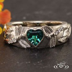 #Heart cut #Emerald and #Dragonfly band. #GreenLakeJewelry