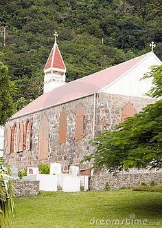 Stone church architecture Windwardside Saba Dutch Netherlands  Antilles