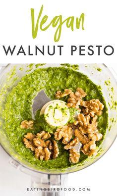 VEGAN Walnut Basil Arugula Pesto. Perfect for summer salads! #vegan #mediterraneandiet