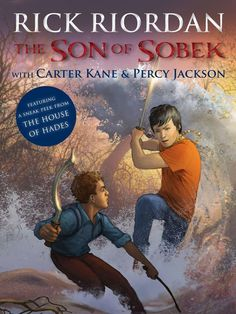 """It's no myth. The crossover tale that Rick Riordan's adventure-loving young fans have been asking for is on its way. And here's your exclusive first look at the cover of the e-book where it all happens. The heroes of two of Riordan's best-selling series, Percy Jackson and Carter Kane, come face-to-face in the short story ""The Son of Sobek,"" being released today in the paperback edition of The Kane Chronicles, Book Three: The Serpent's Shadow, and as a stand-alone e-book on June 19."""