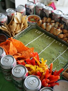 "A perfect ""snack stadium"" to serve at your Superbowl party!"