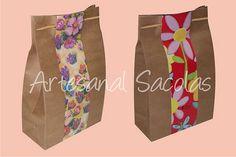 Saco em papel kraft decorado by Artesanal Sacolas (73) 3288-2923, via Flickr