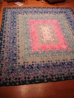 Pink and blue blooming nine patch at The Calico Cat